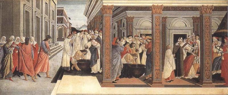 Sandro Botticelli Baptism,renunciation of Marriage,appointment as bishop